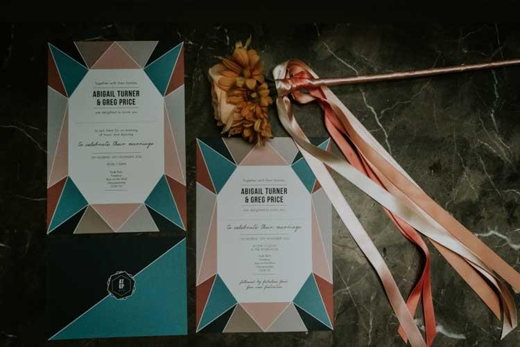 Geometric Stationery Invitations Invites Rose Gold Autumn Barn Wedding http://www.weddingphotographyincheltenham.co.uk/