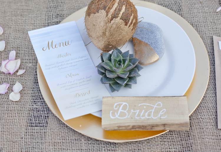 Decor Tablescape Hessian Coconut Succulent Driftwood Calligraphy Gold Dip Luxe Bohemian Beach Wedding Ideas http://www.zoeemilie.co.uk/