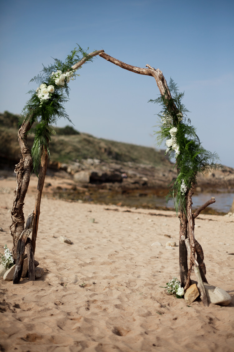 Driftwood Backdrop Flowers Floral Arch Ceremony Luxe Bohemian Beach Wedding Ideas http://www.zoeemilie.co.uk/