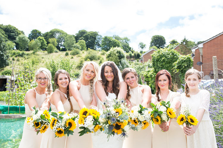Bouquets Flowers Bride Bridal Bridesmaids Summer Sunflowers Marquee Wedding http://maddiewaters.co.uk/
