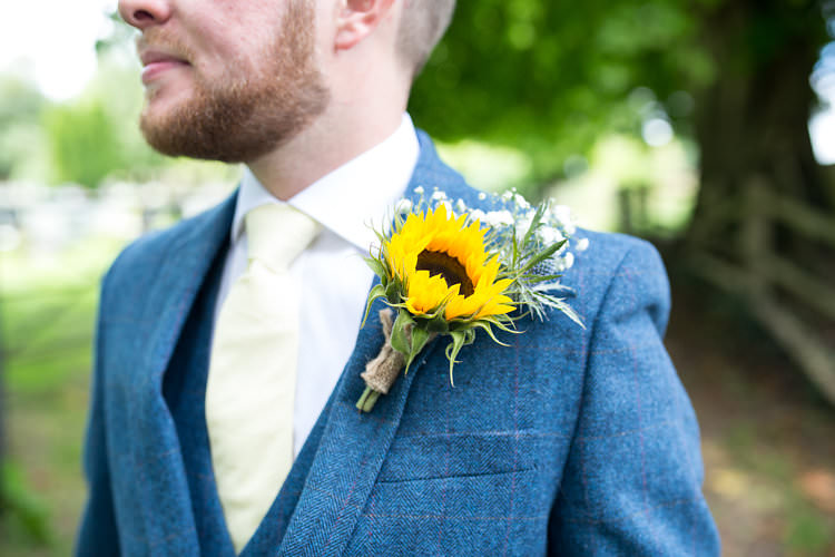 Buttonhole Groom Summer Sunflowers Marquee Wedding http://maddiewaters.co.uk/