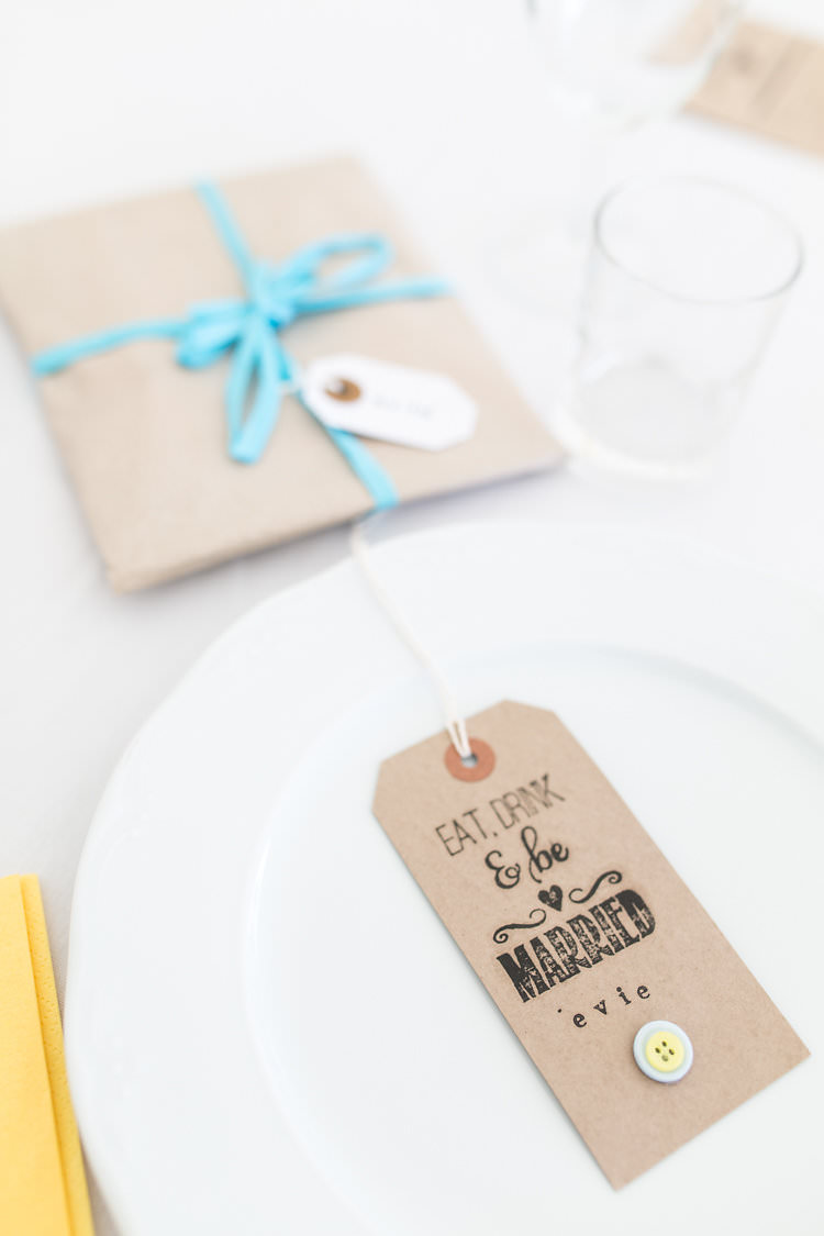 Luggage Tag Place Setting Name Kraft Brown Paper Button Summer Sunflowers Marquee Wedding http://maddiewaters.co.uk/