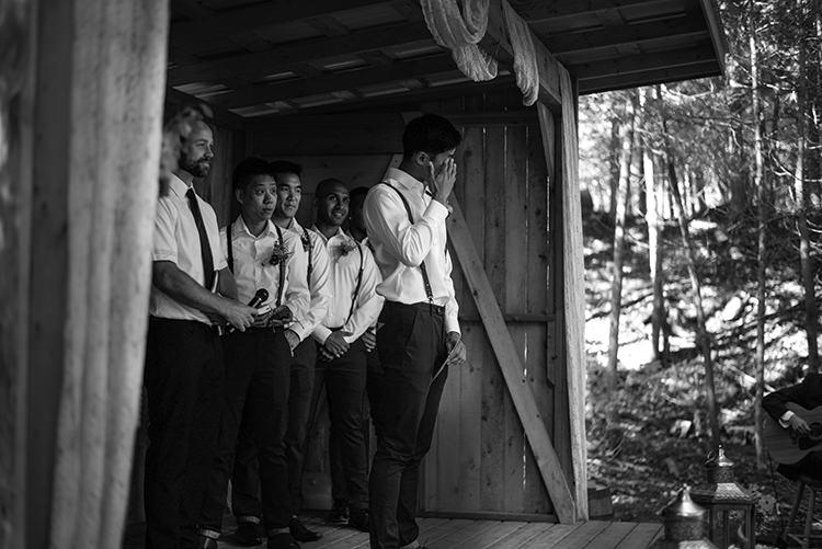 Outdoor Ceremony Groom Emotion White Shirt Brown Leather Suspenders Navy Pants Groomsmen Woodland Waterfall Mint Wedding Ontario http://www.laurenmccormickphotography.com/