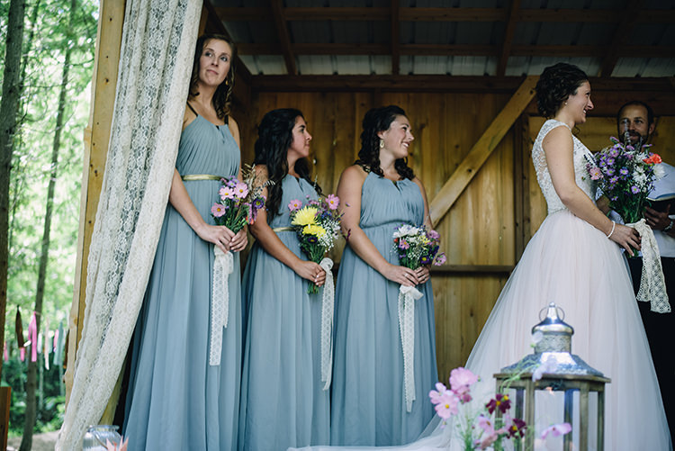 Outdoor Ceremony Bride Allure Champagne Lace Tulle Bridal Gown Bridesmaids Grey Gold Dresses Multicoloured Floral Bouquets Lace Ribbons Woodland Waterfall Mint Wedding Ontario http://www.laurenmccormickphotography.com/