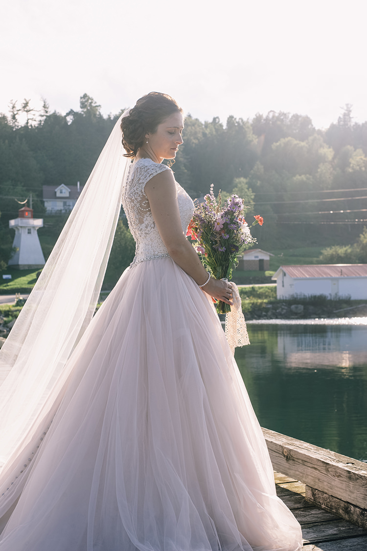 Bride Allure Champagne Lace Tulle Bridal Gown Long Veil Multicoloured Floral Bouquet Lace Ribbon Woodland Waterfall Mint Wedding Ontario http://www.laurenmccormickphotography.com/