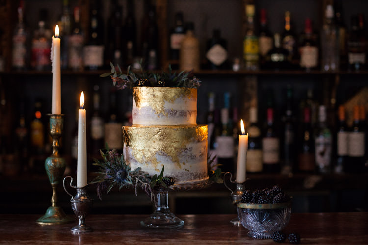 Blue Gold Leaf Cake Luxe Victorian Wedding Ideas http://www.francescarlisle.co.uk/