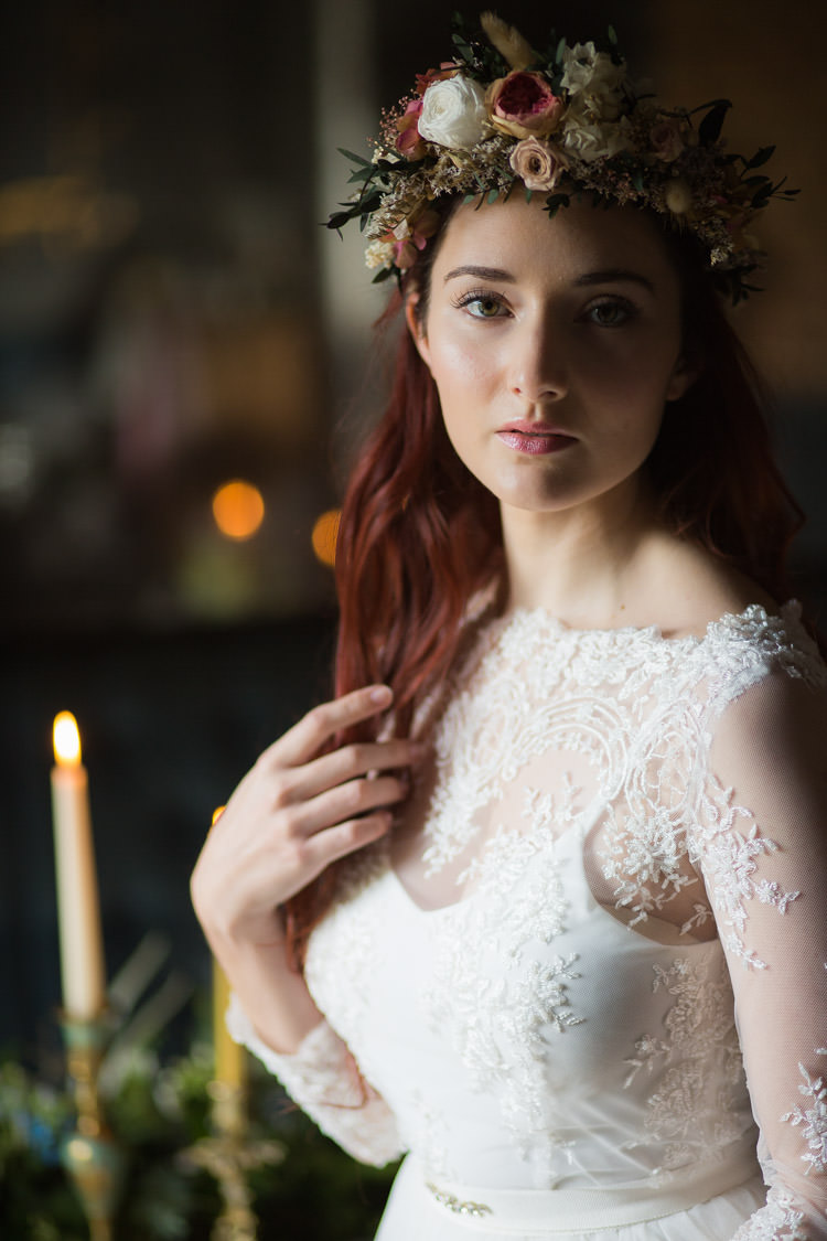 Dried Flower Crown Bride Bridal Floral Style Hair Blue Gold Luxe Victorian Wedding Ideas http://www.francescarlisle.co.uk/