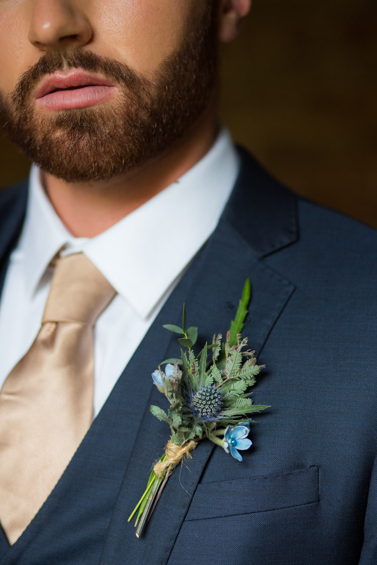 Greenery Foliage Buttonhole Thistle Groom Blue Gold Luxe Victorian Wedding Ideas http://www.francescarlisle.co.uk/