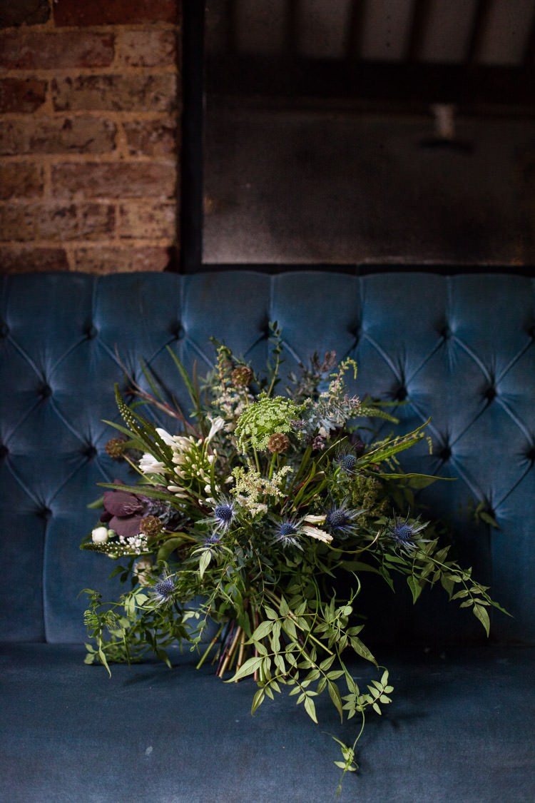 Bouquet Flowers Bride Bridal Greenery Foliage Thistle Blue Gold Luxe Victorian Wedding Ideas http://www.francescarlisle.co.uk/