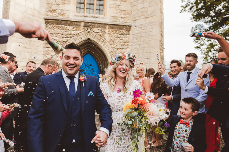Confetti Throw Eclectic Whimsical Village Hall Wedding http://www.nicolacasey.photography/