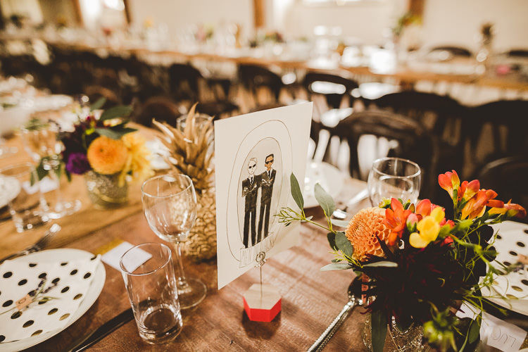 Film Movie Table Names Eclectic Whimsical Village Hall Wedding http://www.nicolacasey.photography/