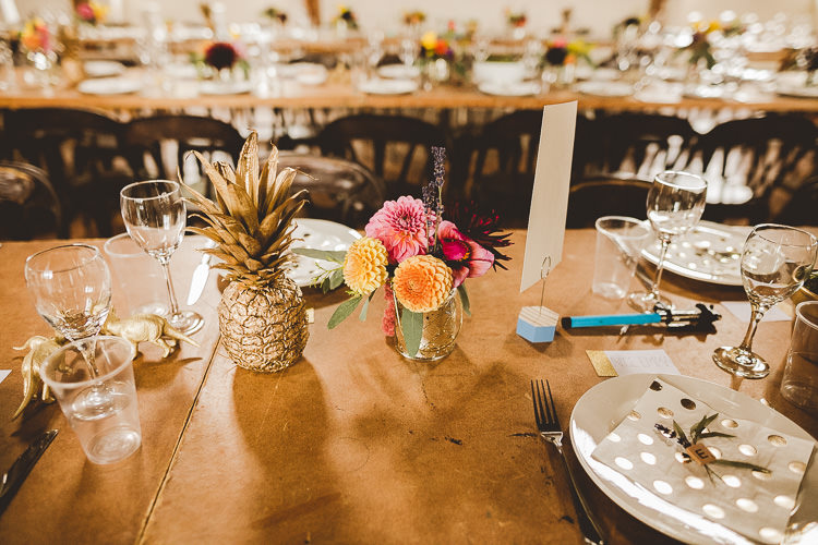 Gold Pineapple Decor Table Eclectic Whimsical Village Hall Wedding http://www.nicolacasey.photography/