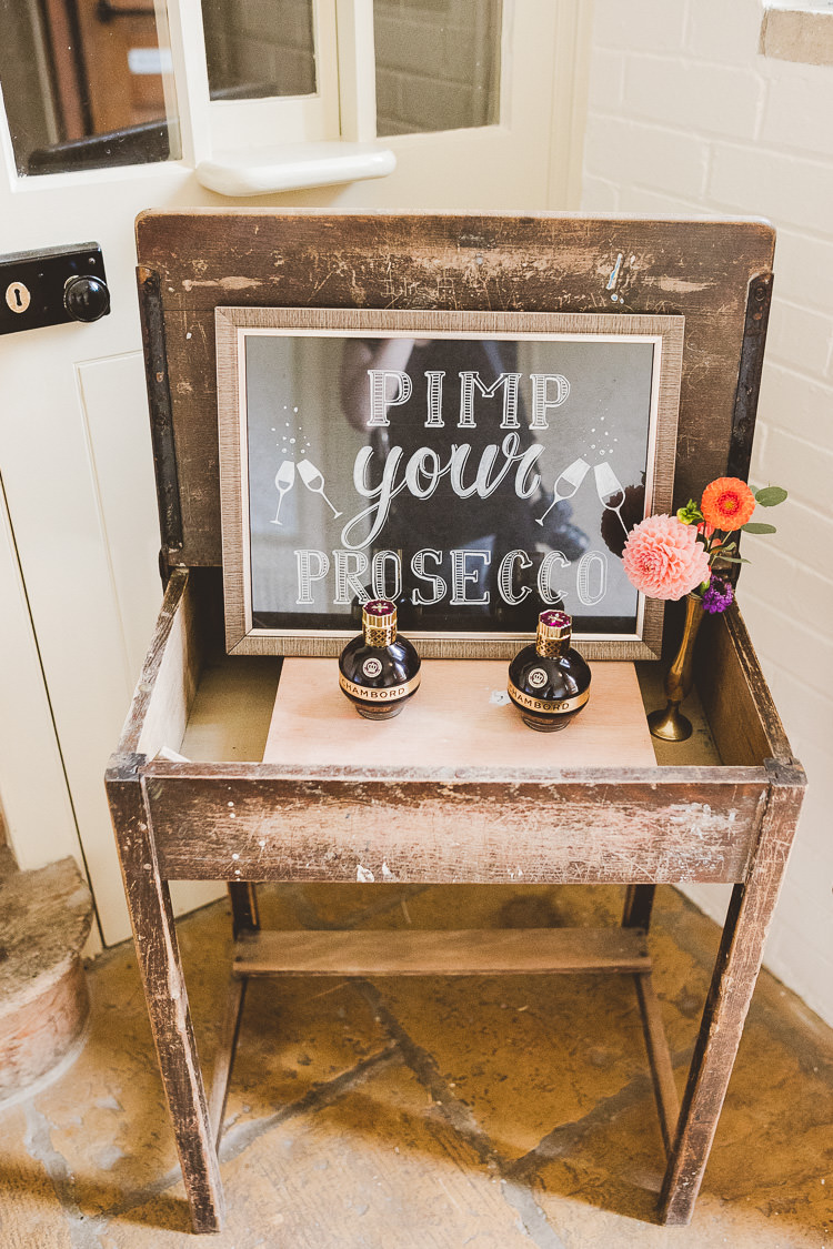 Pimp Your Prosecco Bar Stand Station Drinks Eclectic Whimsical Village Hall Wedding http://www.nicolacasey.photography/