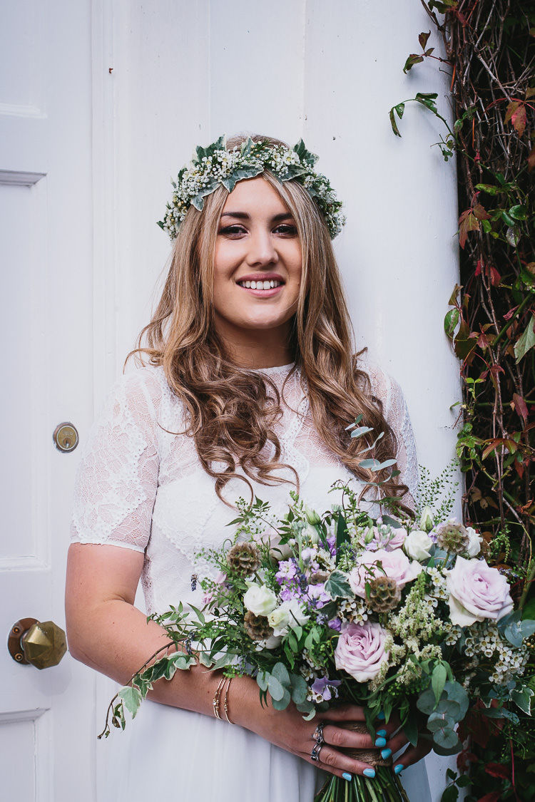 Bride Bridal Flowers Bouquet Crown Lilac White Greenery Foliage Bohemian Outdoor Country Wedding https://www.alexapoppeweddingphotography.com/