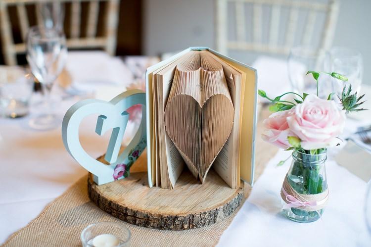 Book Fold Table Decor Centrepiece Log Romantic Summer Country Blush Wedding http://katherineashdown.co.uk/