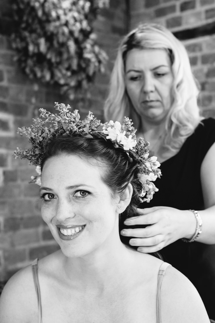 Flower Crown Bridesmaid Seaside Country Farm Pale Blue Marquee Wedding http://loveandadventures.co.uk/