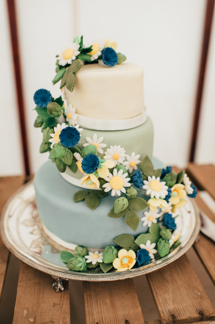 Floral Cake Seaside Country Farm Pale Blue Marquee Wedding http://loveandadventures.co.uk/