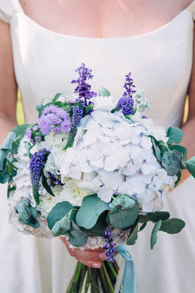 Bouquet Blue Lilac Purple Flowers Bride Bridal Hydrangea Ribbon Bride Bridal Seaside Country Farm Pale Blue Marquee Wedding http://loveandadventures.co.uk/