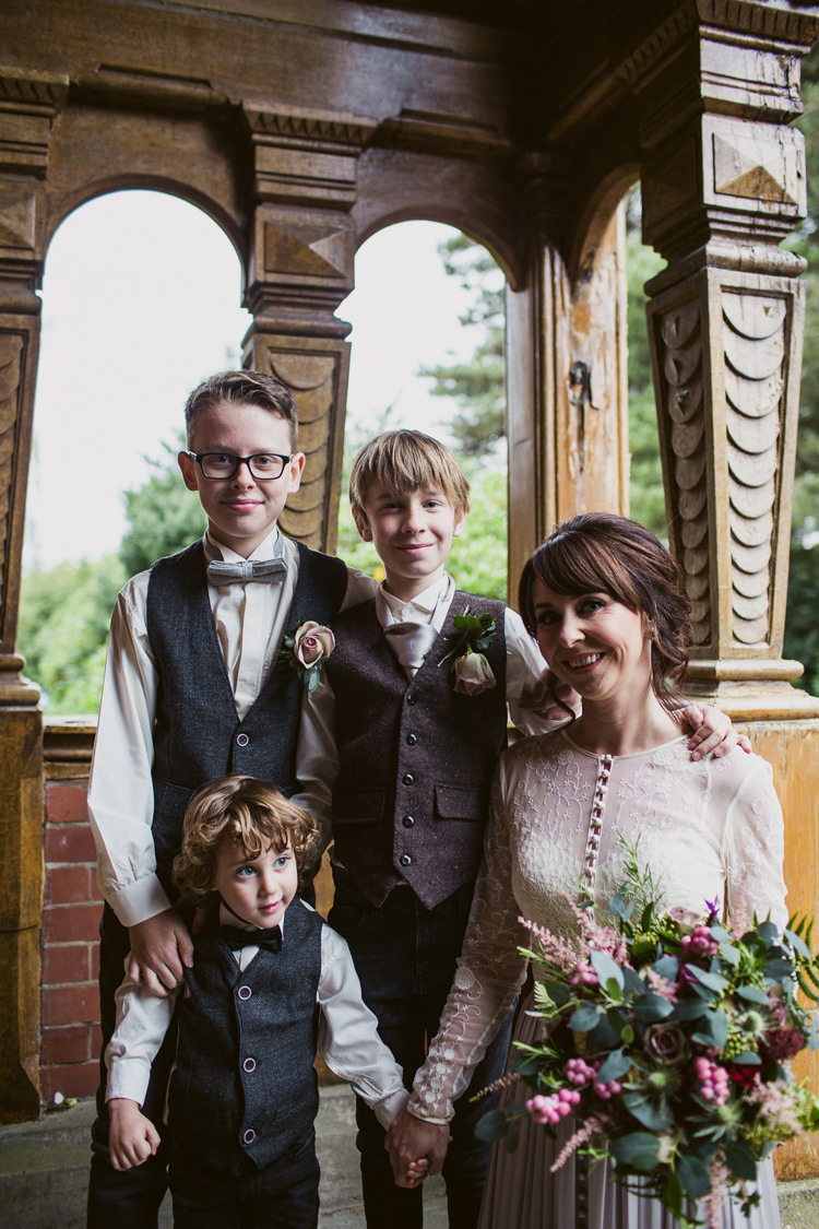 Tweed Waistcoats Bow Ties Page Boys Jeans Relaxed Autumnal Child Friendly Wedding http://kathrynedwardsphotography.com/