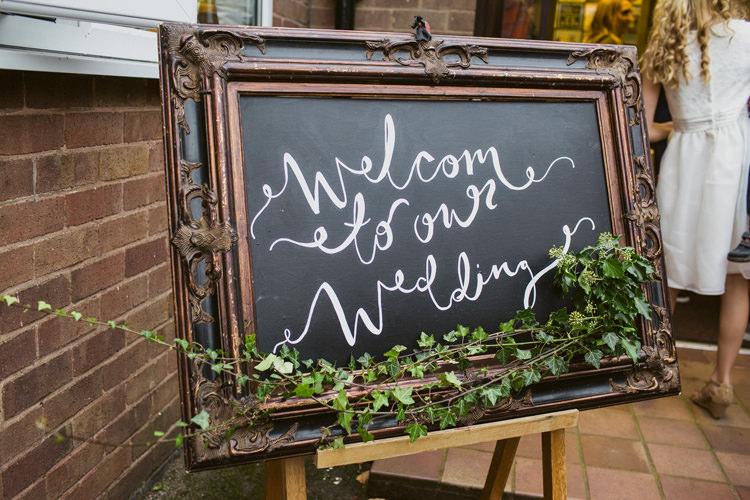 Chalk Black Board Sign Ivy Relaxed Autumnal Child Friendly Wedding http://kathrynedwardsphotography.com/
