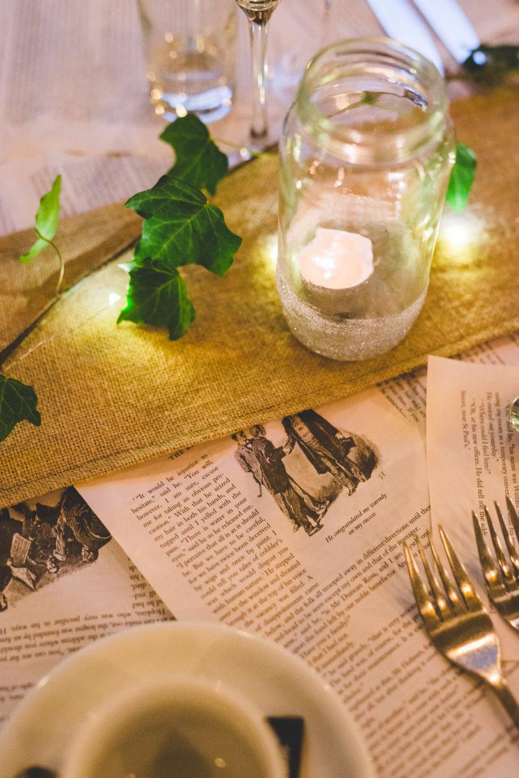 Pages Paper Table Runner Decor Autumn Garden Books Wedding http://www.emmahillierphotography.com/