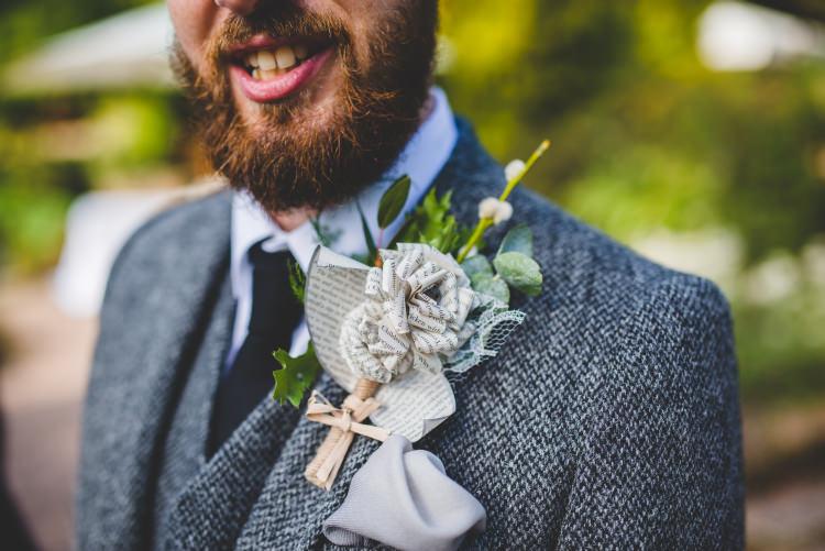 Paper Flower Buttonhole Groom Autumn Garden Books Wedding http://www.emmahillierphotography.com/