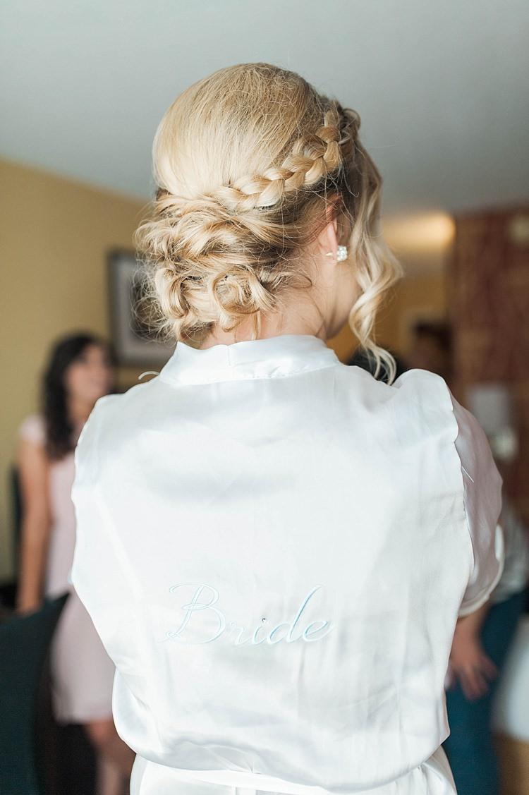 Bride Braid Low Bun Hairstyle White Satin Bride Robe Soft Blush Sage Green Wedding California http://julia-rosephotography.com/