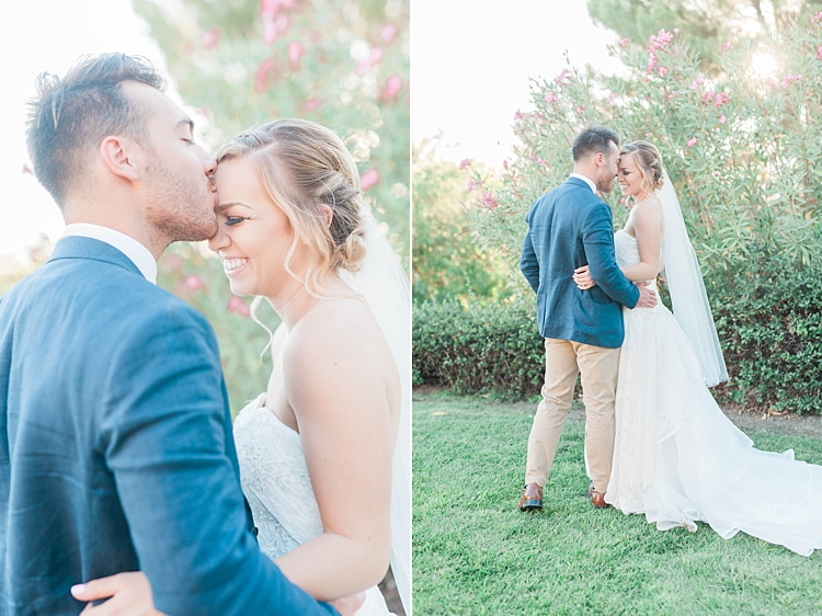 Bride Lace Sweetheart Strapless Bridal Gown Veil Gypsophila Groom Navy Jacket Beige Pants Brown Leather Shoes Soft Blush Sage Green Wedding California http://julia-rosephotography.com/