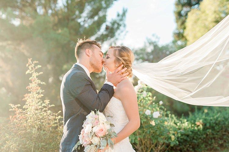 Bride Lace Sweetheart Strapless Bridal Gown Veil Gypsophila Bouquet White Pink Green Dahlia Peony Succulents Groom Navy Jacket Beige Pants Soft Blush Sage Green Wedding California http://julia-rosephotography.com/