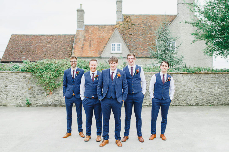 Blue Suit Red Tie Tan Shoes Groom Groomsmen Magical Fairy Lit Autumn Barn Wedding http://whitestagweddings.com/