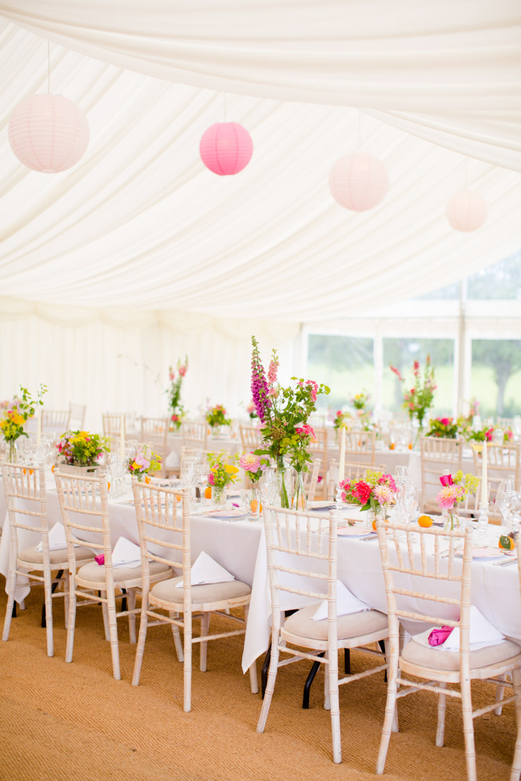 Marquee Lanterns Pink Yellow Flowers Decor Colourful Pastel Home Made Farm Wedding http://helencawtephotography.com/