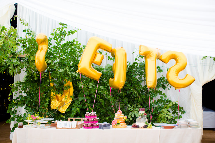 Cake Table Dessert Sweets Balloons Colourful Pastel Home Made Farm Wedding http://helencawtephotography.com/