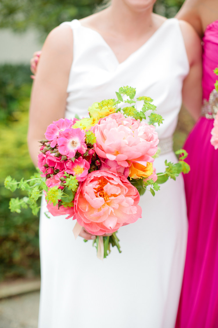 Peony Peonies Bouquet Flowers Coral Pink Bride Bridal Colourful Pastel Home Made Farm Wedding http://helencawtephotography.com/