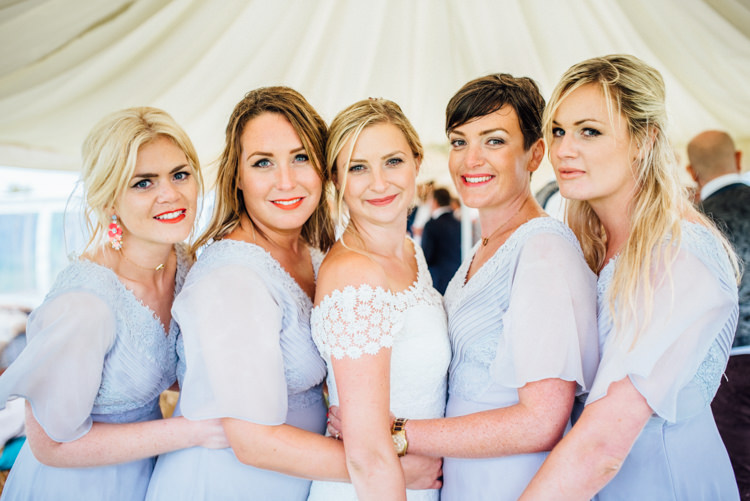 Pale Blue Bridesmaid Dresses Multicoloured Home Made Glamping Wedding http://www.michellewoodphotographer.com/