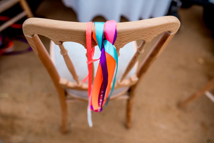 Ribbon Chairs Multicoloured Home Made Glamping Wedding http://www.michellewoodphotographer.com/