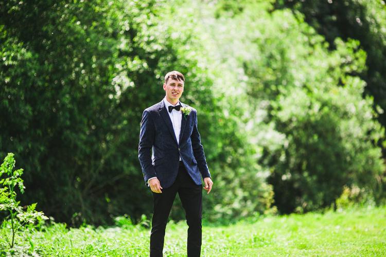 Velvet Jacket Bow Tie Groom Fun Festival Glamping Wedding https://storry.co.uk/