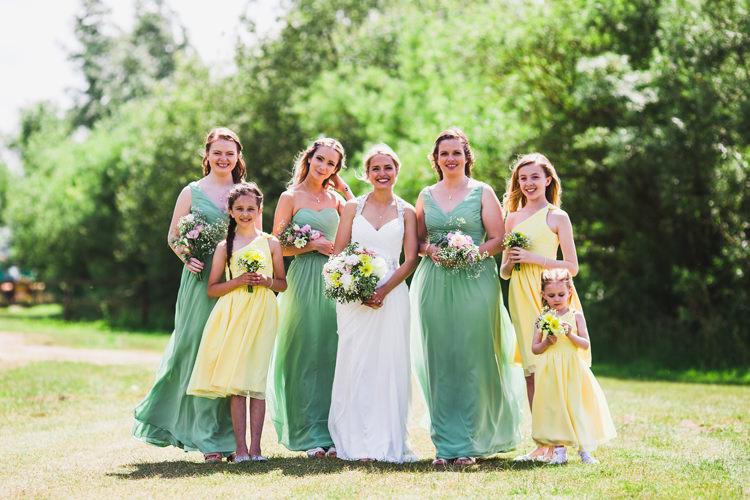 Yellow Green Bridesmaid Dresses Fun Festival Glamping Wedding https://storry.co.uk/