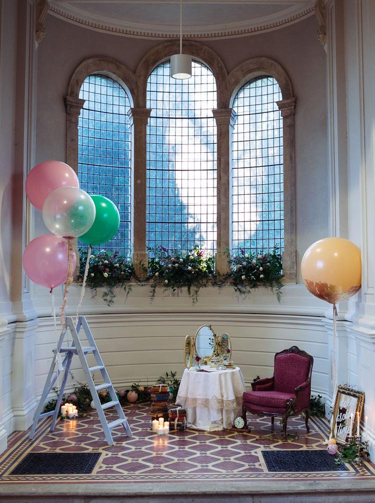 Balloons Flowers Ladder Decor Beauty And The Beast Wedding Ideas https://sophiecarefull.co.uk/