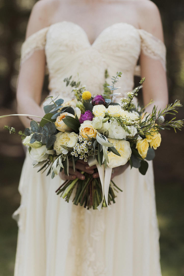 Bride Sarah Seven Cascade Off The Shoulder Lace Bridal Gown Multicoloured Bouquet Yellow Cream Pink Roses Peonies Greenery Whimsical Forest Harry Potter Wedding http://heatherelizabethphotography.com/