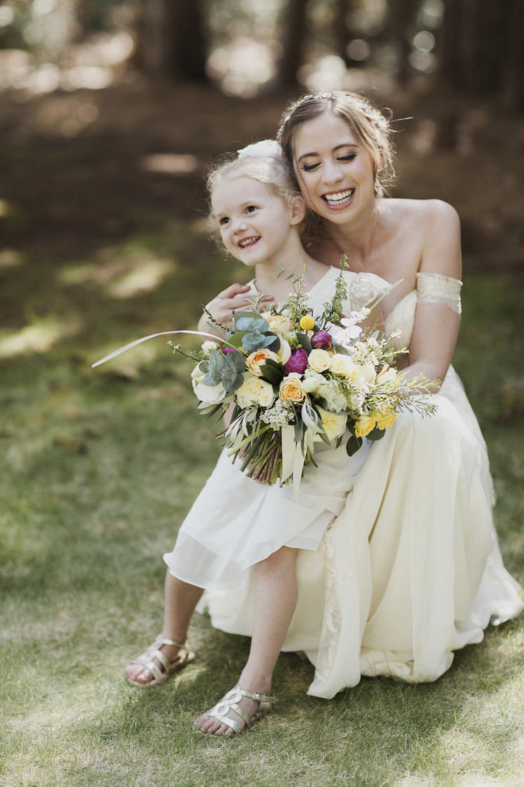 Bride Lace Off The Shoulder Bridal Gown Multicoloured Bouquet Flower Girl Cream Dress Gold Sandals Whimsical Forest Harry Potter Wedding http://heatherelizabethphotography.com/