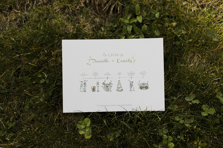 Wedding Stationery Order of the Day Card Illustrations Whimsical Forest Harry Potter Wedding http://heatherelizabethphotography.com/