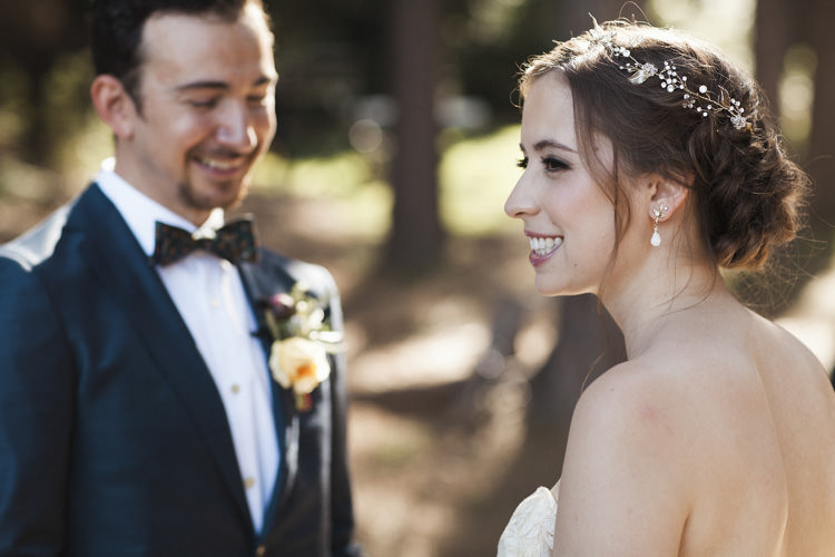 Outdoor Ceremony Bride Sarah Seven Cascade Lace Off The Shoulder Bridal Gown Crystal Hairpiece Groom Dark Blue Suit Patterned Bowtie Floral Buttonhole Whimsical Forest Harry Potter Wedding http://heatherelizabethphotography.com/