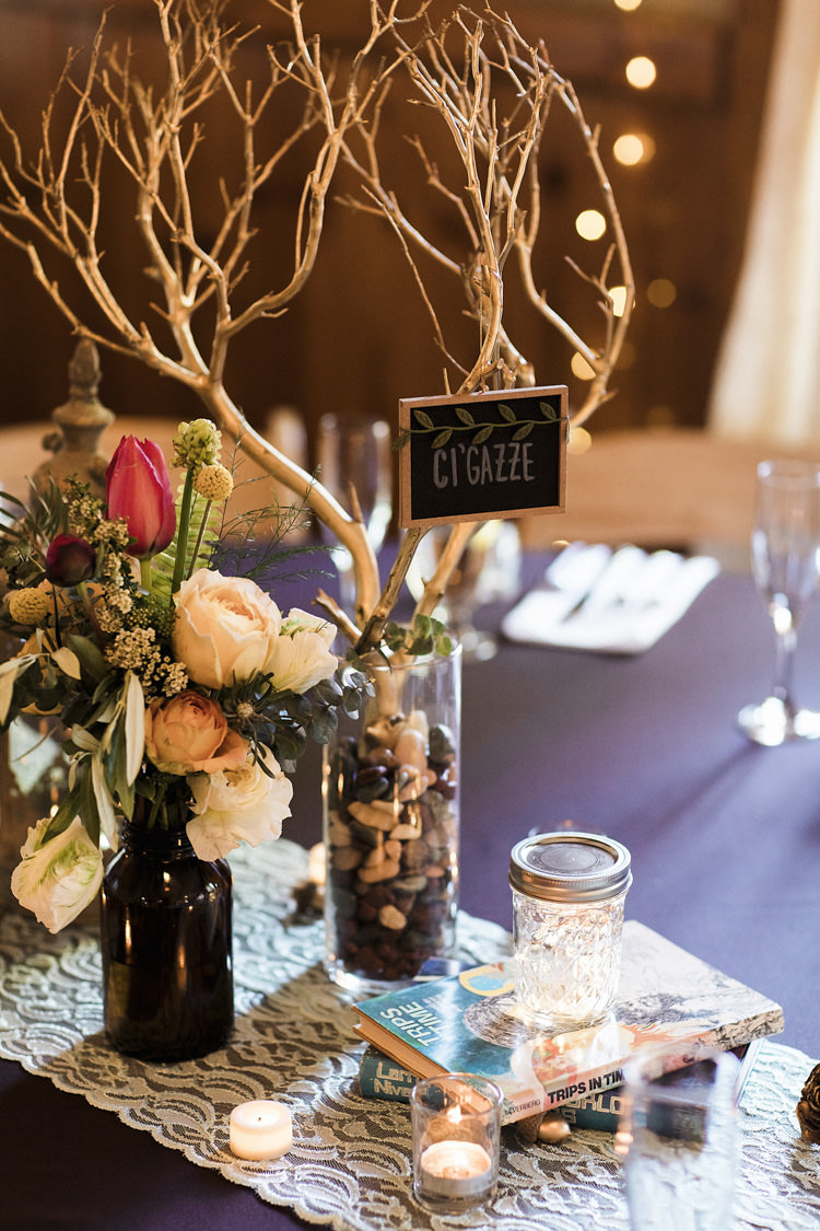 Reception Table Setting Book Lover Theme Painted Branches Blackboard Place Name Dark Bottle Multicoloured Florals Candles Books Fairy Lights Whimsical Forest Harry Potter Wedding http://heatherelizabethphotography.com/