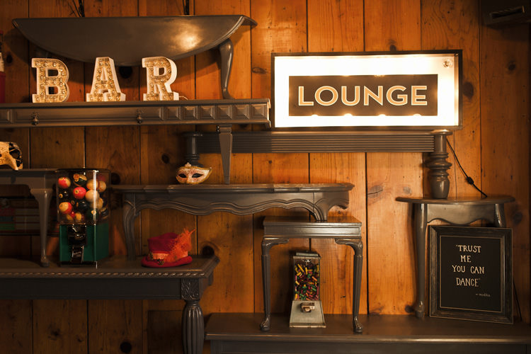Reception Bar Lounge Signs Vintage Décor Whimsical Forest Harry Potter Wedding http://heatherelizabethphotography.com/