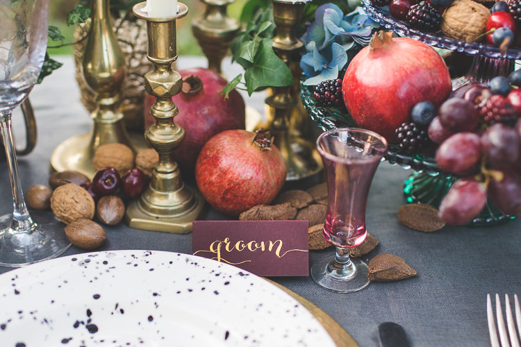Gold Red Place Name Card Calligraphy Magical Autumn Outdoorsy Woodland Wedding Ideas http://kirstymackenziephotography.co.uk/