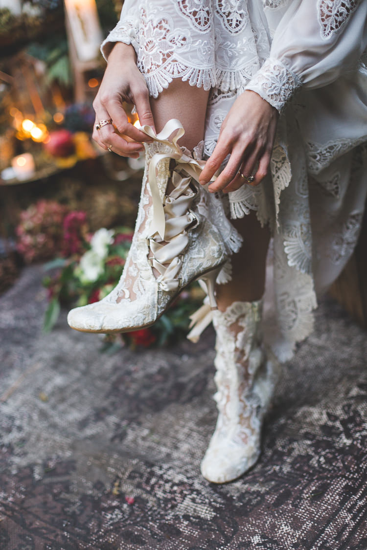 Lace Ribbon Boots Bride Bridal Magical Autumn Outdoorsy Woodland Wedding Ideas http://kirstymackenziephotography.co.uk/