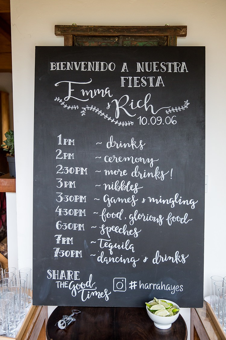 Chalk Black Board Sign Decor Mexican Inspired Colourful Cactus Wedding http://katherineashdown.co.uk/