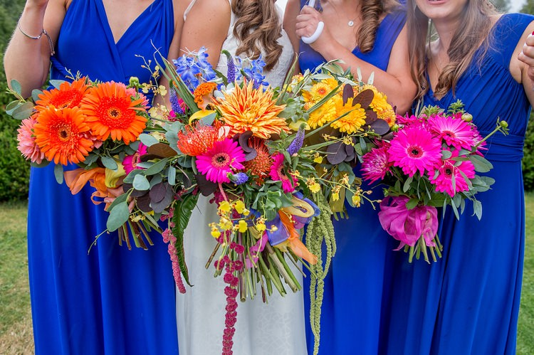 Rainbow Flowers Bridesmaids Bouquets Mexican Inspired Colourful Cactus Wedding http://katherineashdown.co.uk/
