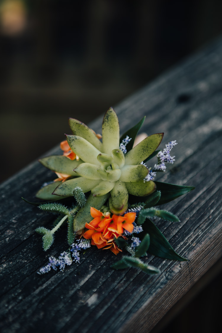 Groom Buttonhole Orange Florals Greenery Succulent Adventure Inspired Woodland Wedding North Carolina http://www.amandasuttonphotography.com/