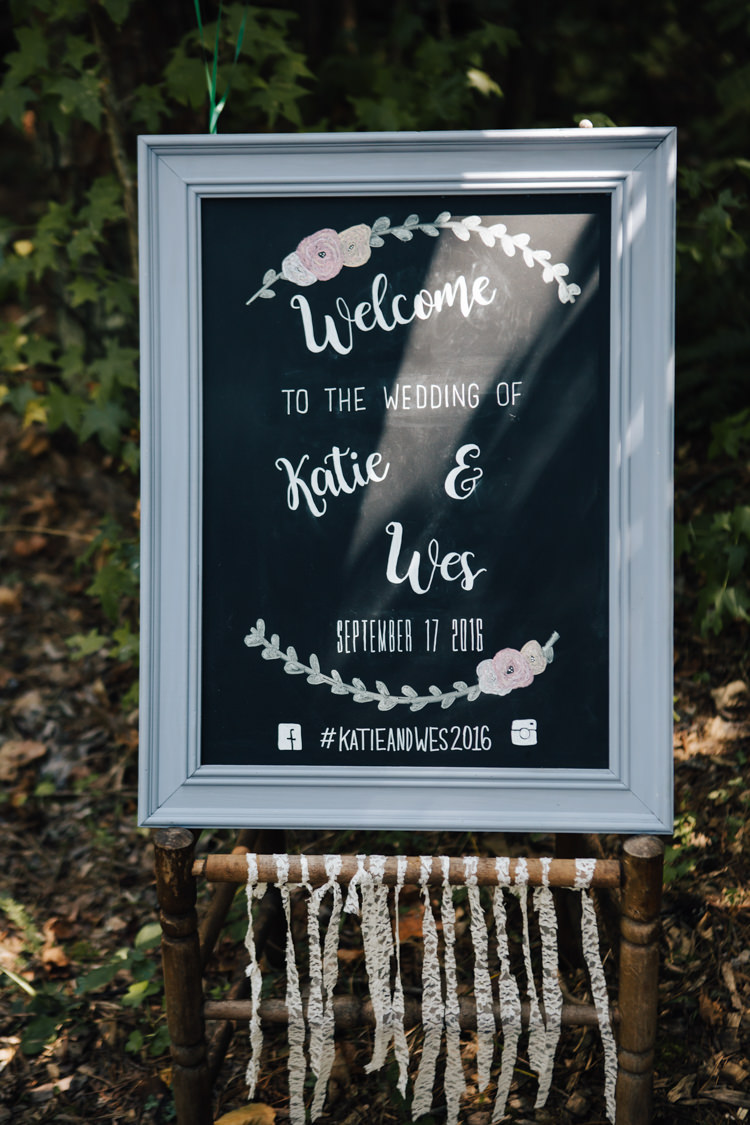 Outdoor Ceremony Welcome Sign Framed Blackboard Calligraphy Lace Ribbon Details Adventure Inspired Woodland Wedding North Carolina http://www.amandasuttonphotography.com/